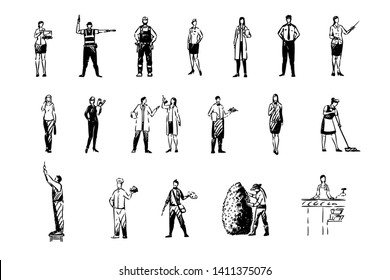 Various occupations, financial analyst, handyman, police officer, school teacher, science workers, professions set. Young men and women in uniform concept sketch. Hand drawn vector illustration
