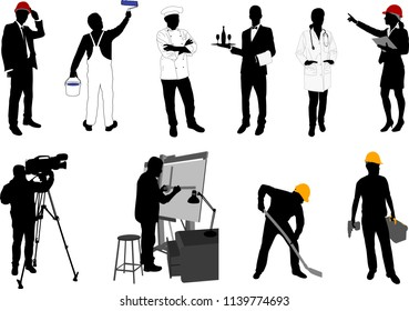 various occupations silhouettes collection - vector