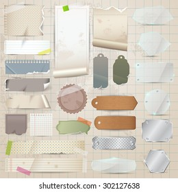 Retro scrapbooking vector collection old paper stock photo photo various old remnant pieces of material such paper glass metal and wooden plate malvernweather Images