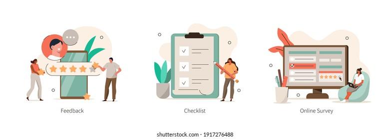 Verschiedene Icons für Online-Umfrage und Bewertung. Zeichen füllen Umfrageformular aus, setzen Markierungen auf die Checkliste und geben Fünf-Sterne-Feedback. Konzept der Anwendererfahrungen. Flache Cartoon-Vektorgrafik.