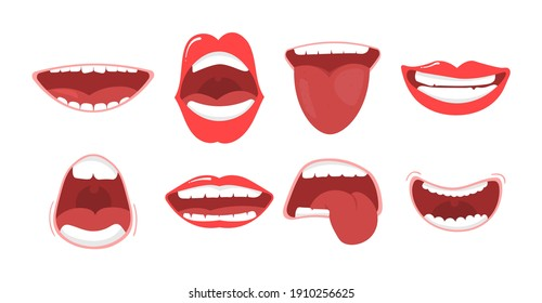 Various open mouth options with lips, tongue and teeth. Smile with teeth, tongue sticking out, surprised. Funny cartoon mouths set with different expressions. Cartoon vector illustration, eps 10.