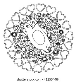 Various ornamental pumpkins, vector design, page  for adult colouring book, black and white zentangle.