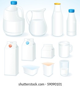 Various packages for dairy products, isolated vector objects