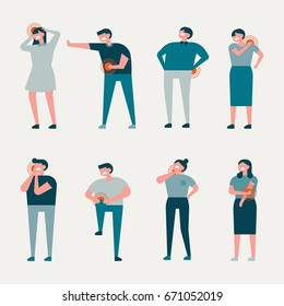 Various Pain people character vector illustration flat design