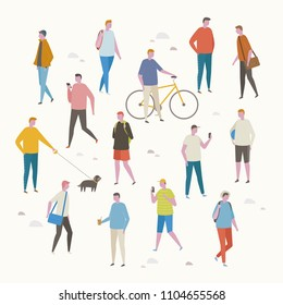 various people character on the street. flat design style vector graphic illustration set