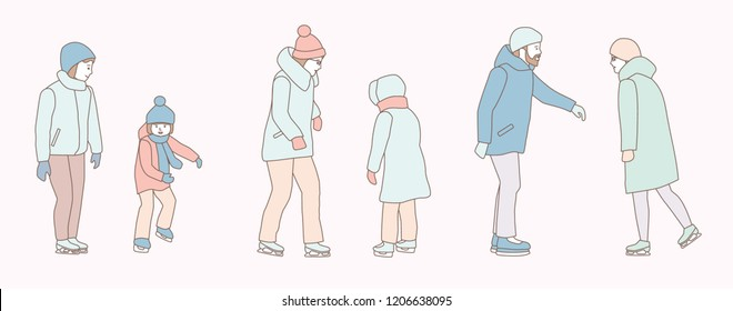Various people characters skating on ice rink. hand drawn style vector doodle design illustrations on white background