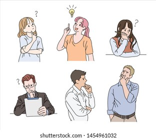 Various people have a curious face. hand drawn style vector design illustrations.
