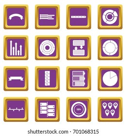 Various people icons set in purple color isolated vector illustration for web and any design