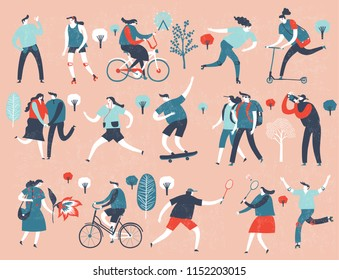 Various people at park performing leisure outdoor activities. Cartoon colorful vector illustration.