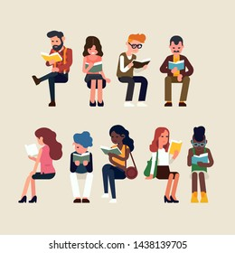 Various people reading in sitting poses. Flat vector concept illustration on reading and book lovers with diverse group of people enjoying a good book