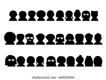 various people upper body silhouette icon set