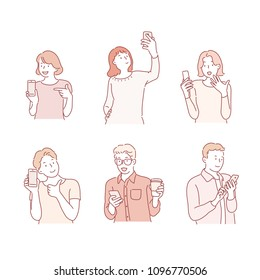 Various people using mobile phones Character. hand drawn style vector doodle design illustrations.