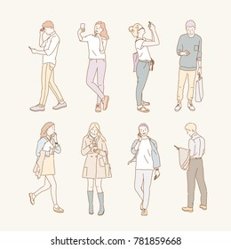 Various people using mobile phones hand drawn style vector doodle design illustrations.