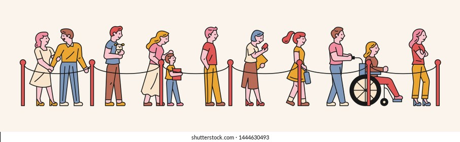Various people waiting in line according to guidelines. flat design style minimal vector illustration.