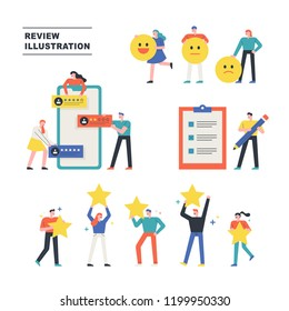 Various people who write and write reviews on the web. flat design style vector graphic illustration. various people set.