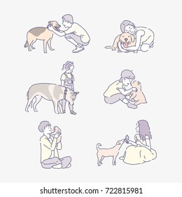 various pet with people character line drawing vector illustration flat design
