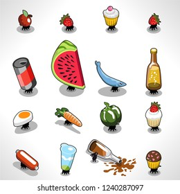 Various picnic ants stealing food like muffins, water melon, beer, fish, vegetables and fruit (vector illustration)