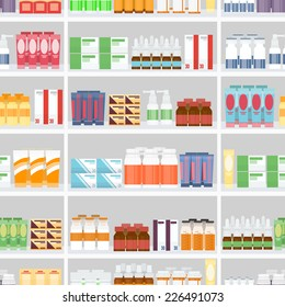 Various Pills and Drugs For Sale Display on Pharmacy Shelves. Designed in Seamless Gray Background.