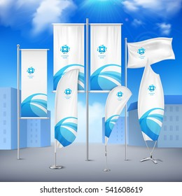 Various pole flags banners collection with  blue emblem for event announcement and promotion urban sky background vector illustration