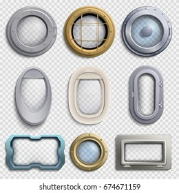 Various portholes isolated vector set. Submarine, airplane and ship window. Glass portholes aircraft and ship illustration