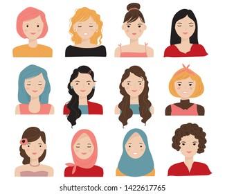 various portrait girls, face character