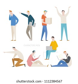 various pose and behavior man character source. flat design style vector graphic illustration set