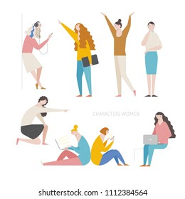 various pose and behavior woman character source. flat design style vector graphic illustration set
