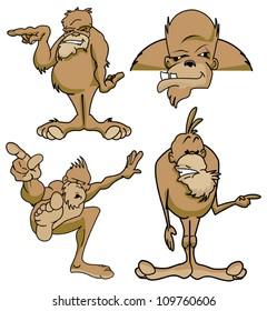 Various poses of Bigfoot sasquatch cartoon