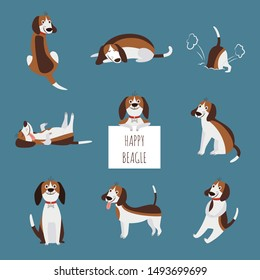 The various poses of cute beagle dog or puppy set flat cartoon vector illustration isolated on blue background. Funny animal pet hand drawn collection.