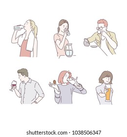 Various poses to drink something. hand drawn style vector doodle design illustrations.