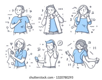 Various poses & expressions of people listening to music. Doodle vector hand drawn illustration in line style for website and printing materials