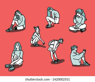Various poses of a sitting girl. hand drawn style vector design illustrations.