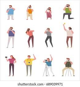 Various poses to take pictures vector illustration flat design