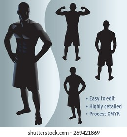 various poses of vector fit male athlete