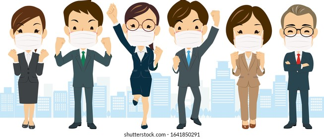 Various posing businessman and woman putting on a mask in the city #01, Vector Illustration