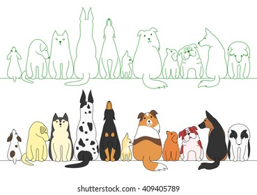 various posing dogs in a row