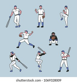 The various positions of the baseball player. vector illustration flat design