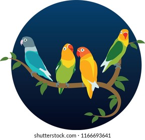 Various positions and colors of lovebird on twigs and leaves.