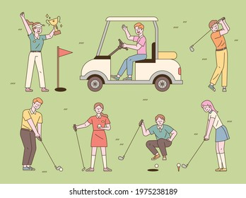 Various positions of people playing golf. flat design style minimal vector illustration.