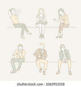 Various postures of people sitting on chairs. hand drawn style vector doodle design illustrations.