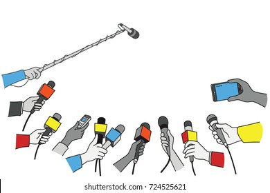 Various press reporter hands with microphones and recorder in press interview. Politics, business, press interview, news, concept. Outline, linear, thin line art, simple color design.