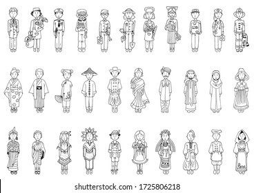 Various Professionals and Peoples in Traditional Costumes. Big Doodles Set. Hand Drawn vector illustration
