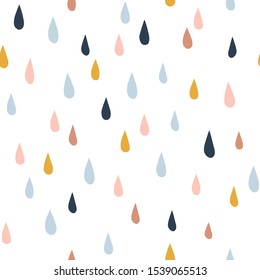 Various raindrops. Kids drawing style. Childish scandinavian backdrop. Flat design. Hand drawn colored vector seamless pattern. Modern trendy illustration for fabric, textile, wallpaper, scrapbook