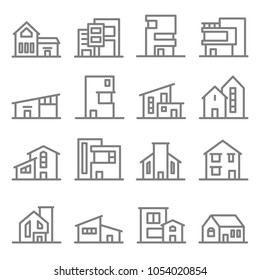 Various Real Estate Property Modern Style Buildings vector line icon set. Included the icons as home, house, hotel, resort, apartment, tower and more.