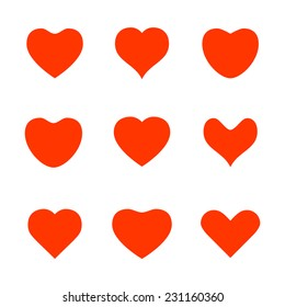 Various red heart shape icons