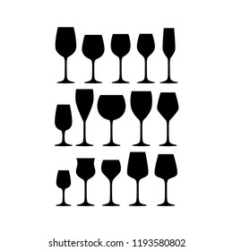 Various red, white and sparkling wine glasses silhouette vector set. Black isolated wineglass collection.