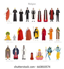 Various religious gods and priests vector illustration flat design