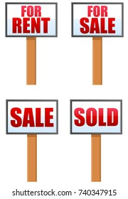 Various rent and sale signs