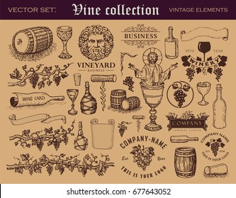 Various retro style vector elements for wine industry