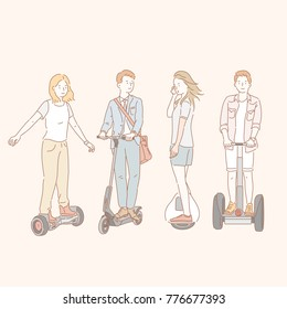 Various rides and people character hand drawn style vector doodle design illustrations.